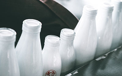 Bottles of yoghurt or milk