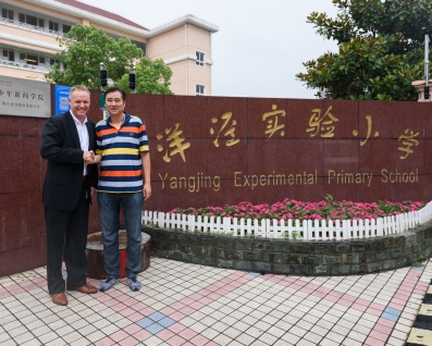 Harry Boot meeting Head Teacher at Yangjing School