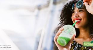 Tasteva Reb M - lady drinking green juice