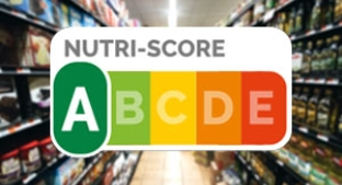 Nutri-score rating logo over supermarket aisle