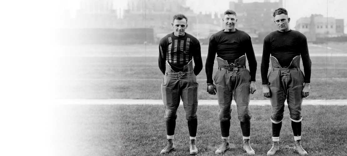 George Halas, Hugh Blacklock, Jerry Jones, founding members of the Decatur Staleys